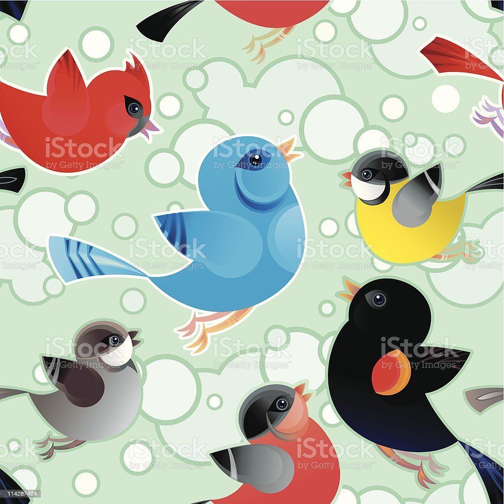 Tweetering Birds Pattern vector art illustration