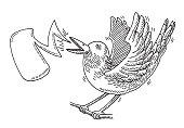 Hand-drawn vector drawing of a excited Tweeting Bird and a Speech Bubble. Black-and-White sketch on a transparent background (.eps-file). Included files are EPS (v10) and Hi-Res JPG.