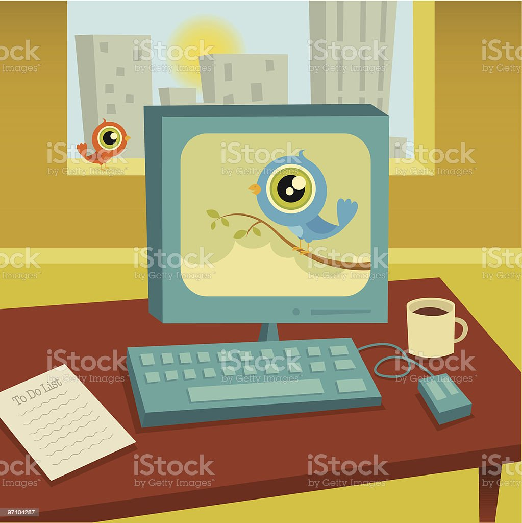 Tweeting on the Job royalty-free tweeting on the job stock vector art & more images of absence