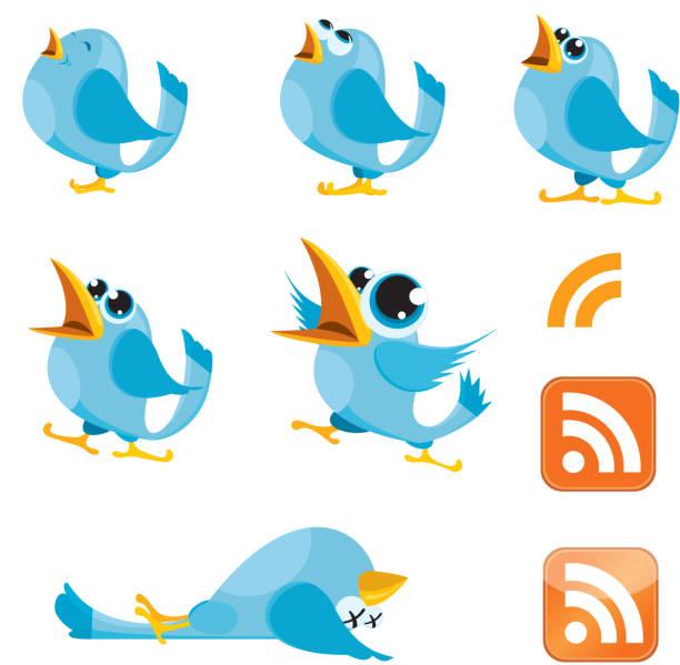 Tweeting, Talking Bluebirds and RSS symbol vector art illustration