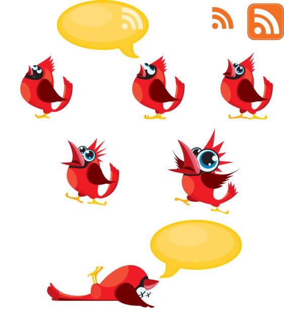 Tweeting, Talking Red birds or Cardinals and RSS symbol vector art illustration