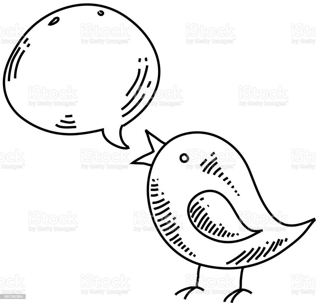 Tweety bird icon Drawing vector art illustration