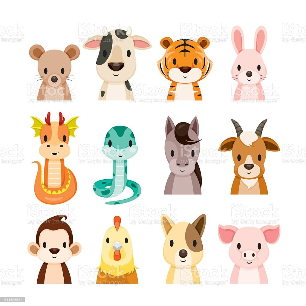 364cf6785 Twelve Animals Chinese Zodiac Signs Icons Set royalty-free twelve animals  chinese zodiac signs icons