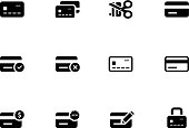 Twelve black and white cartoon graphics of credit card icons