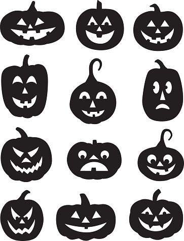 Twelve Black Pumpkin Silhouettes