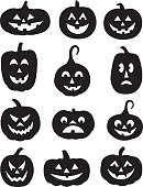 Vector illustration of twelve spooky black halloween pumpkin silhouettes.