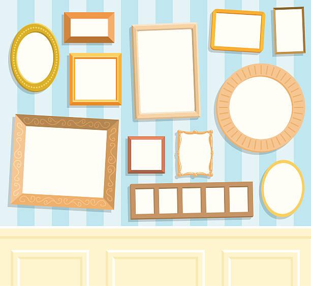 bildbanksillustrationer, clip art samt tecknat material och ikoner med twelve blank frames on a wall - painting wall