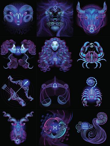Twelve blue neon horoscope signs. Vector illustration