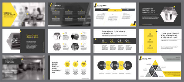 Twelve Business Slide Templates Set Yellow, white and black infographic elements for presentation slide templates. Business and concept can be used for annual report, advertising, flyer layout and banner. awards ceremony stock illustrations