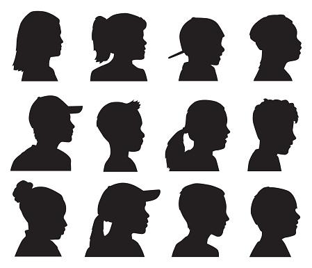 Twelve Children Head Profile Silhouettes