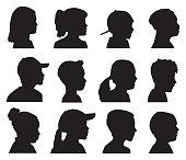 Vector silhouettes of twelve children head profiles.