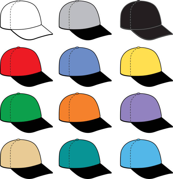 twelve Colorful Baseball Caps Icon Vector illustration of twelve different color baseball caps with black brims. uniform cap stock illustrations