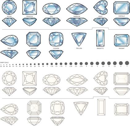 Twelve diamond shapes