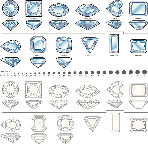 12 diamond formen - herzkissen stock-grafiken, -clipart, -cartoons und -symbole