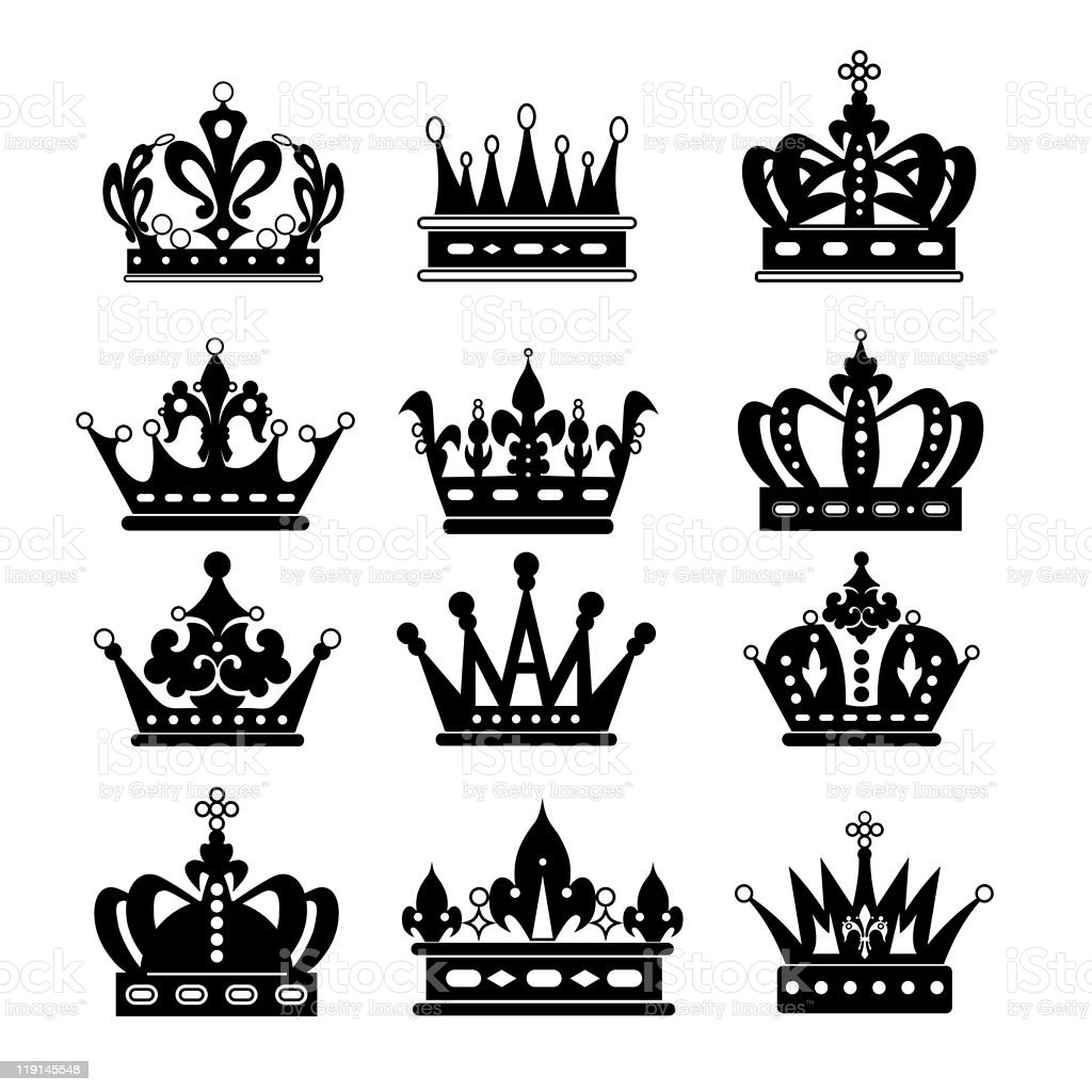 Twelve different black and white crown icons royalty-free stock vector art