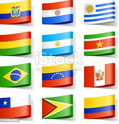 istock Twelve different flags of South America 141943962