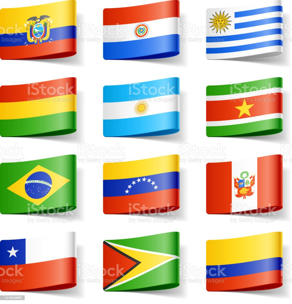 Twelve different flags of South America vector art illustration