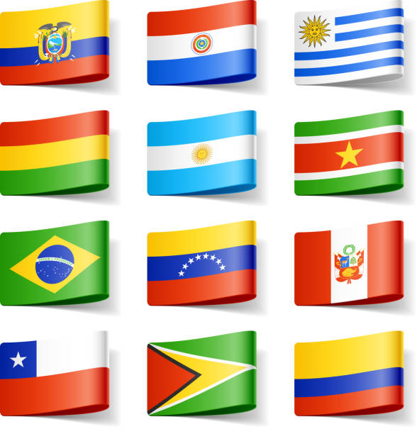 bildbanksillustrationer, clip art samt tecknat material och ikoner med twelve different flags of south america - brasilien flagga
