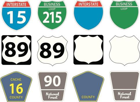 Twelve different highway signs