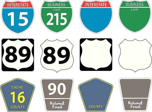 Twelve different highway signs U.S. highway and freeway signs in vector format.  Illustrator file included. highway stock illustrations