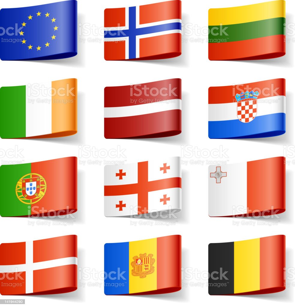 Twelve European world flags on a white background royalty-free stock vector art
