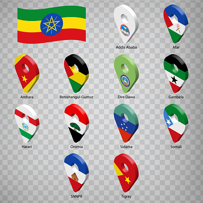 Twelve flags the Provinces of Ethiopia -  alphabetical order with name.  Set of  3d geolocation signs like flags Regions of Ethiopia . Twelve  3d geolocation signs for your design. EPS10