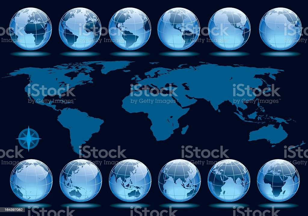 Twelve globes showing different phases of Earth rotation vector art illustration