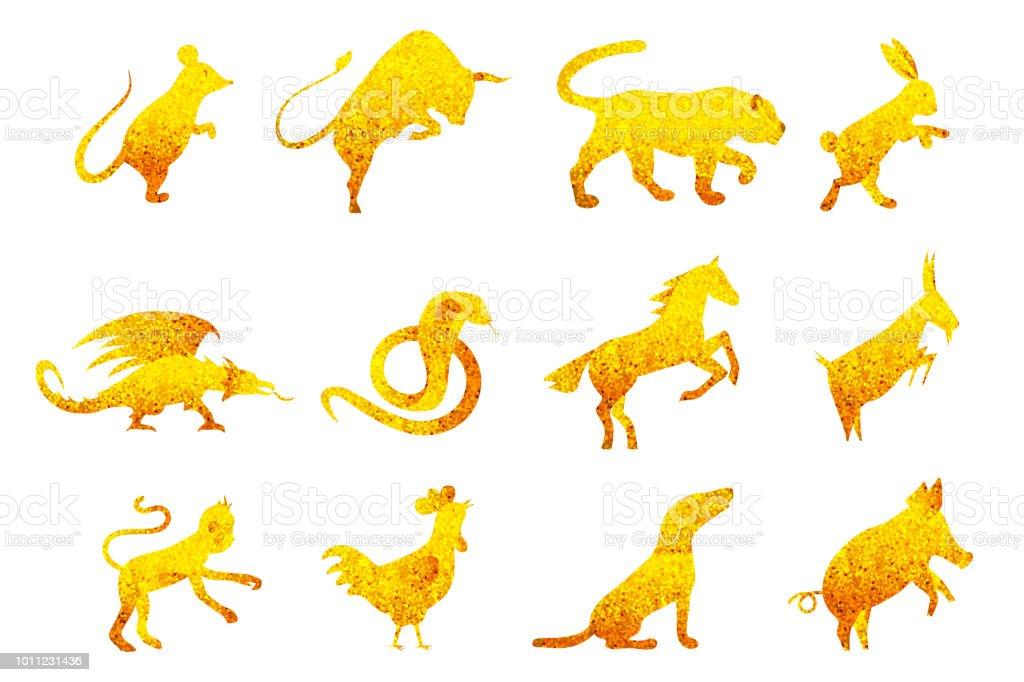Twelve Golden Chinese Year Lunar Zodiac Horoscope Symbols Stock
