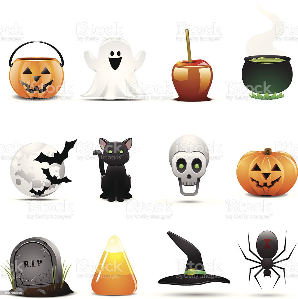 Twelve Halloween themed icons on a white background vector art illustration