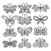 Twelve hand drawn Butterflies appropriate for coloring book. Hand drawn decorative butterflies. Black and white.Vector illustration