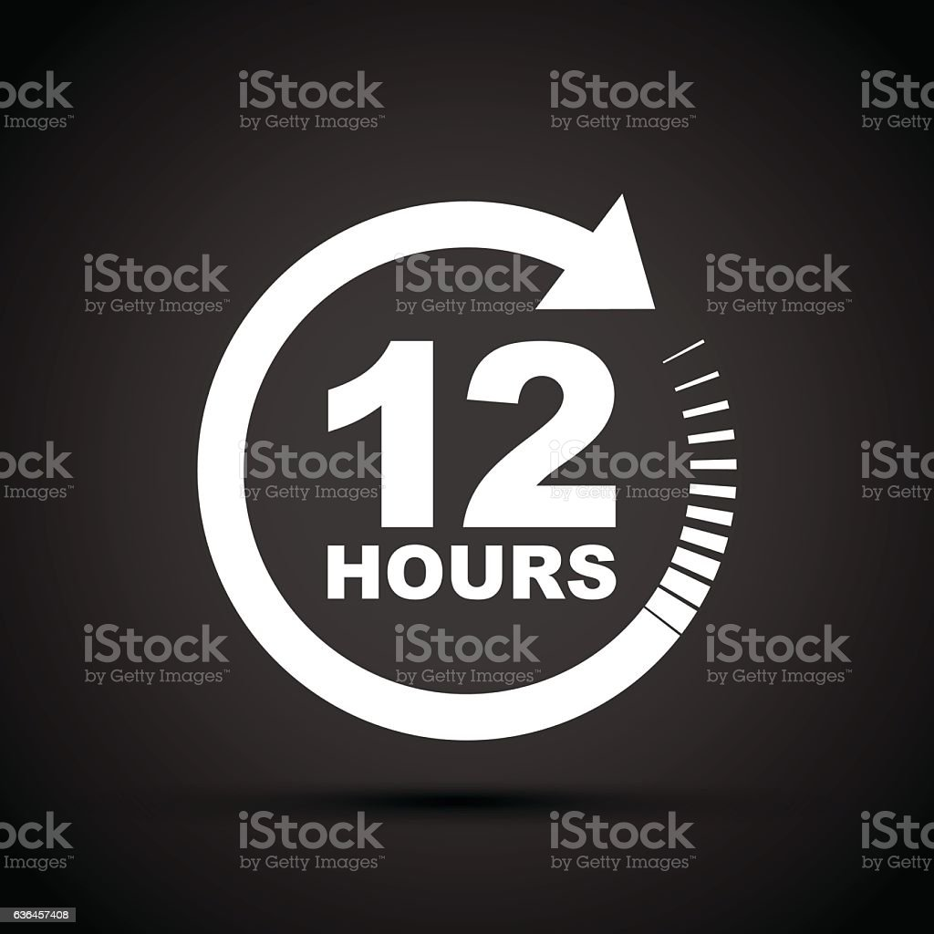 twelve hour icon vector art illustration