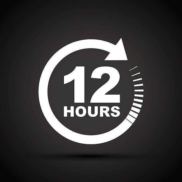 twelve hour icon - clock face stock illustrations, clip art, cartoons, & icons