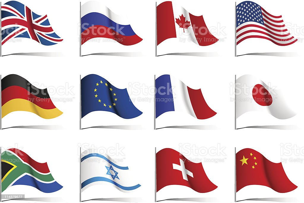 Twelve illustrations of world flags vector art illustration