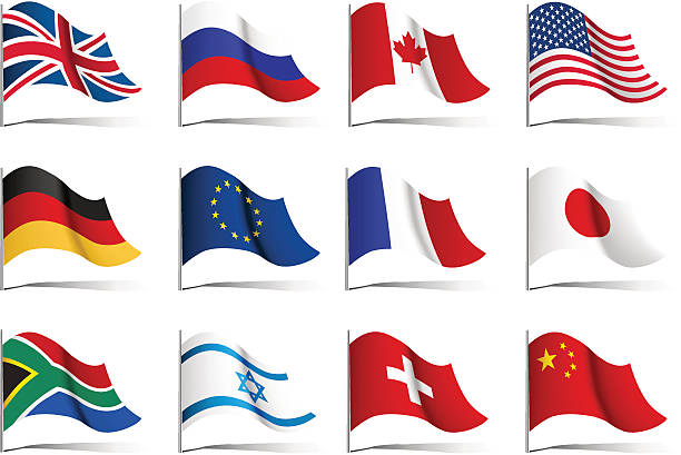 twelve illustrations of world flags - union jack flag stock illustrations, clip art, cartoons, & icons