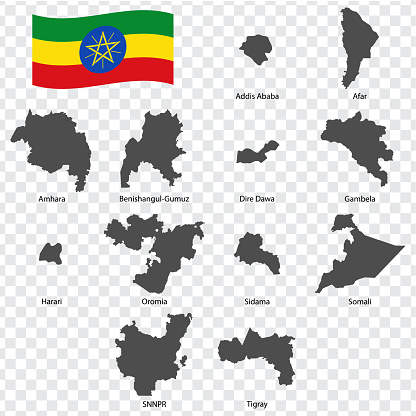 Twelve Maps  of  Ethiopia - alphabetical order with name. Every single map of Regions are listed and isolated with wordings and titles.  Republic of Ethiopia. EPS 10.