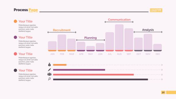 Twelve Month Bar Chart Slide Template Bar chart slide template. Business data. Graph, diagram. Creative concept for infographic, templates, presentation, report. Can be used for topics like analysis, statistics, finance. four people stock illustrations