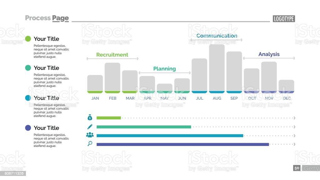 Twelve Month Bar Chart Slide Template vector art illustration