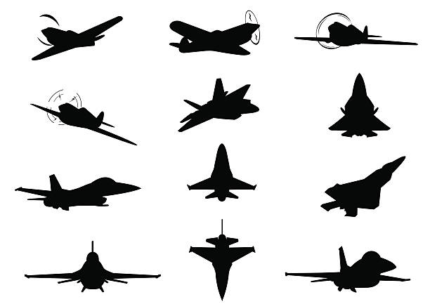 Twelve planes silhouettes Twelve planes silhouettes. air force stock illustrations