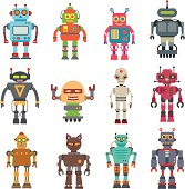 Vector set of 12 cute retro robots.