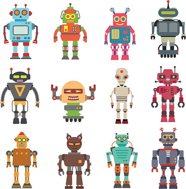 Twelve Robot Set vector art illustration