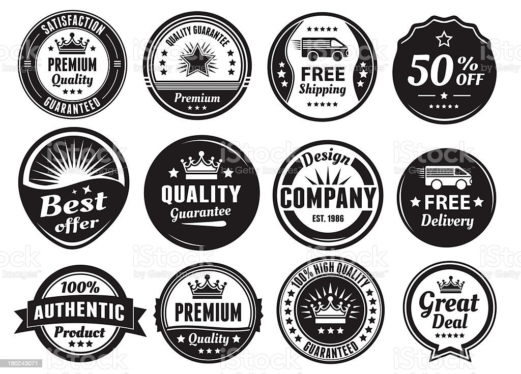 Twelve Scalable Vintage Badges royalty-free twelve scalable vintage badges stock vector art & more images of accuracy