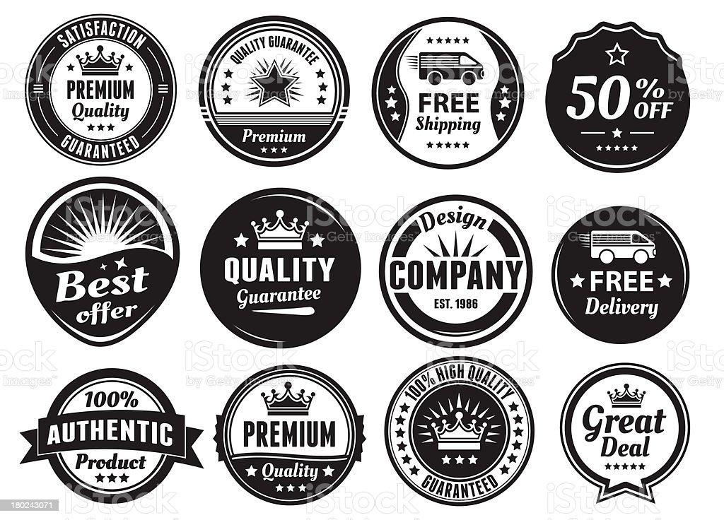 Twelve Scalable Vintage Badges vector art illustration