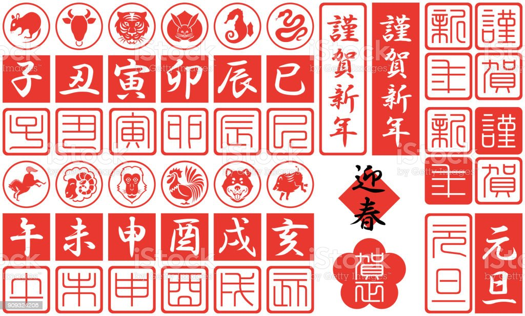 Twelve Signs of the Chinese Zodiac vector art illustration