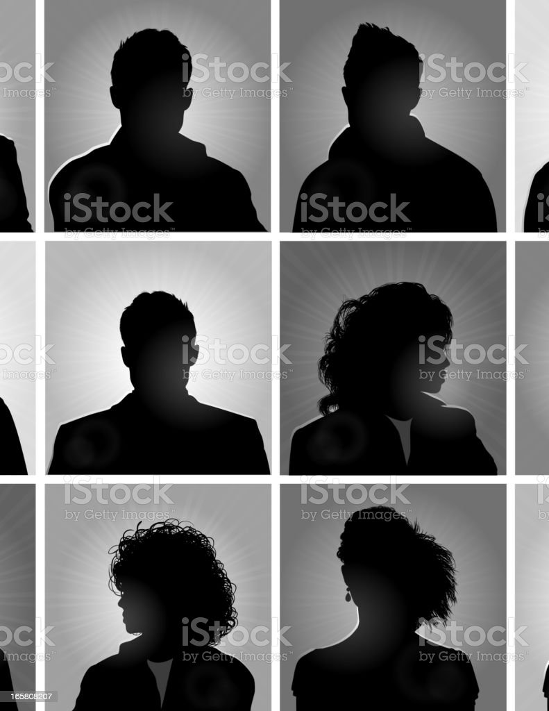 Twelve silhouettes of people in boxes vector art illustration