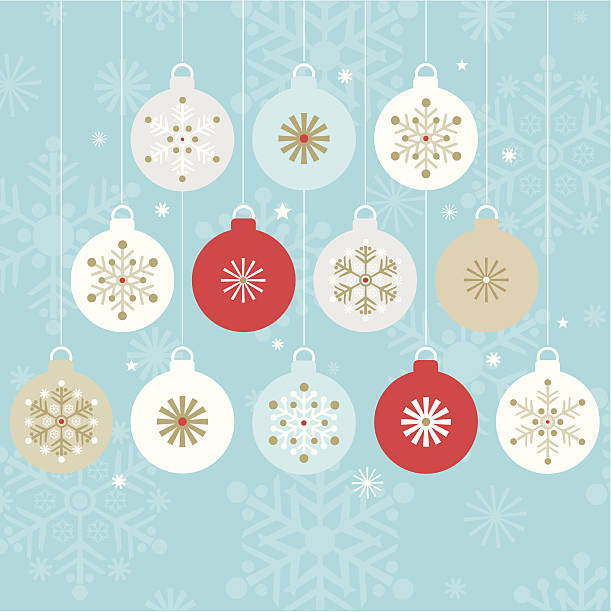 stockillustraties, clipart, cartoons en iconen met twelve stylish hanging christmas baubles. - kerstballen