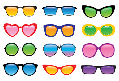 Vector illustration of twelve pair of sunglasses on a white background.