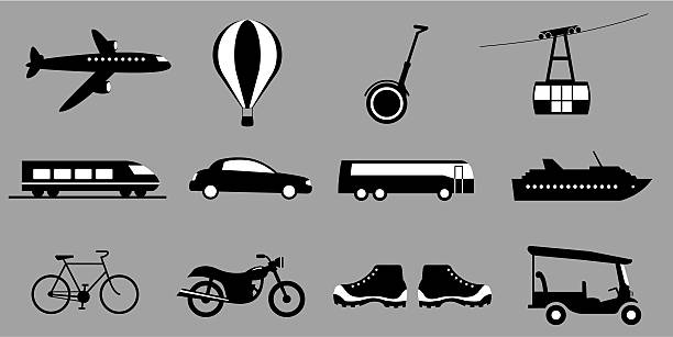 Twelve travel icons including bus boat and bike vector art illustration