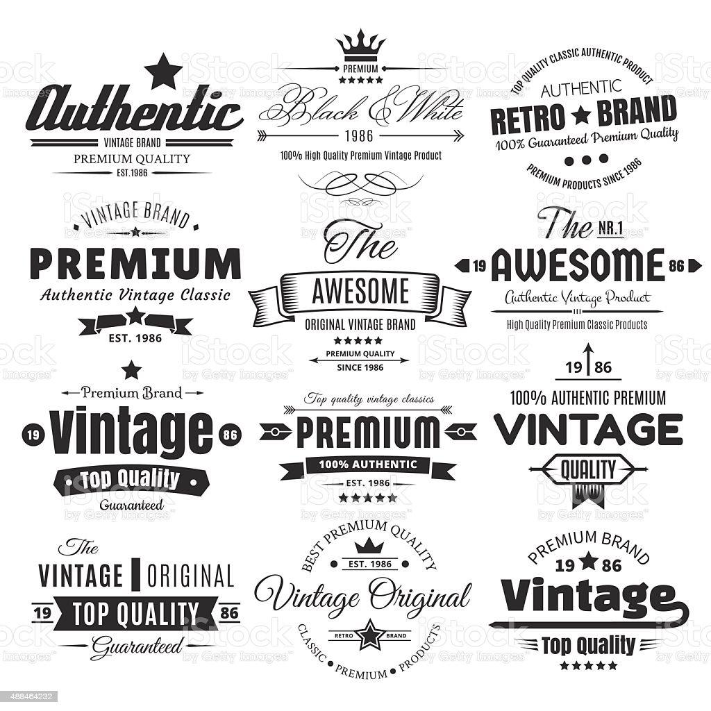 Twelve Vintage Insignias Or Labels vector art illustration