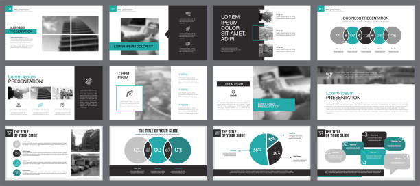 Twelve Workflow Slide Templates Set Blue, white and grey infographic elements for presentation slide templates. Business and workflow concept can be used for financial report, advertising, flyer layout and leaflet. awards ceremony stock illustrations