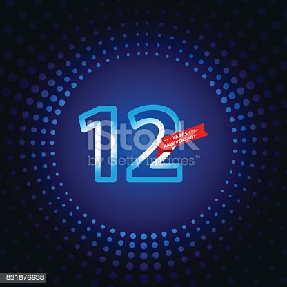 Vector of Twelve years anniversary icon with blue color dot pattern background. EPS Ai 10 file format.